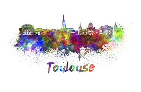 toulouse: Toulouse skyline in watercolor splatters with clipping path Stock Photo