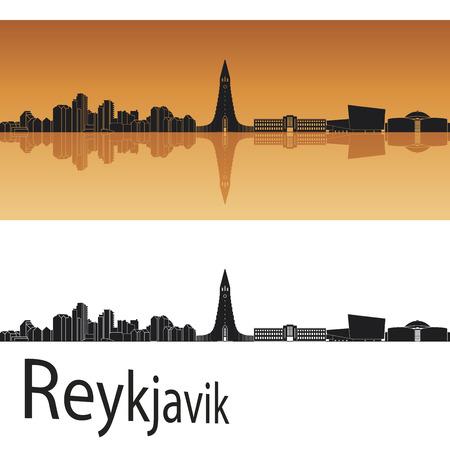 Horizonte de Reykjavik en fondo naranja en el archivo vectorial editable Foto de archivo - 31396107