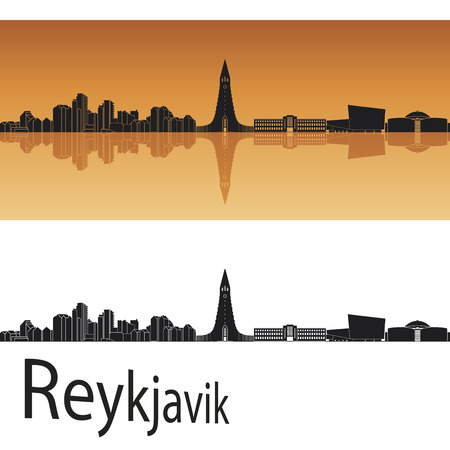 Reykjavik skyline in orange background in editable vector file