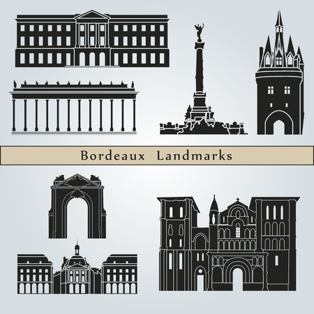 Bordeaux landmarks and monuments isolated on blue background in editable vector file