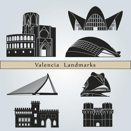 발렌시아 랜드 마크와 기념물 편집 가능한 벡터 파일에 파란색 배경에 고립