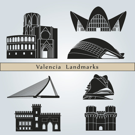 spain: Valencia landmarks and monuments isolated on blue background in editable vector file