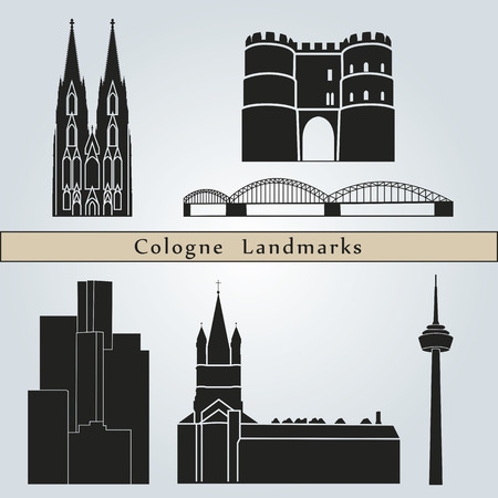 cologne: Cologne landmarks and monuments isolated on blue background in editable vector file