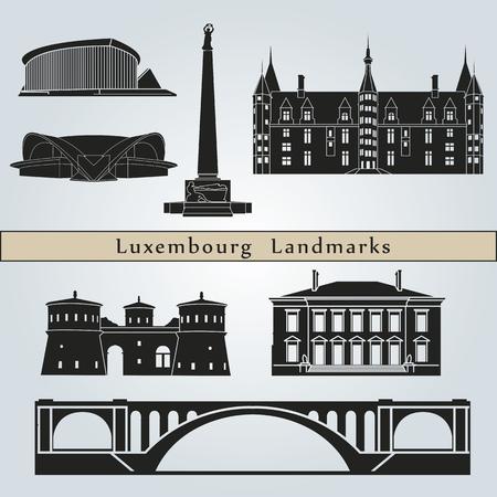 Bezienswaardigheden en monumenten Luxemburg geïsoleerd op een blauwe achtergrond in bewerkbare vector-bestand