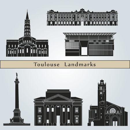 toulouse: Toulouse landmarks and monuments isolated on blue background in editable vector file