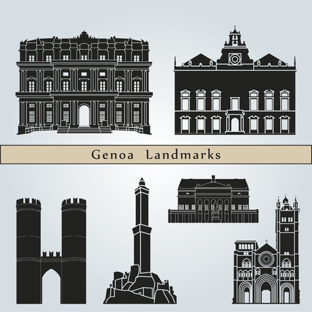 Genoa landmarks and monuments isolated on blue background in editable vector file