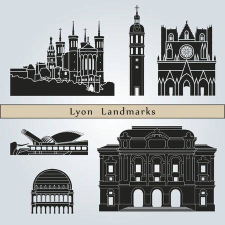 landmark: Lyon landmarks and monuments isolated on blue background in editable vector file