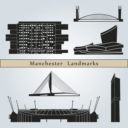 manchester: Manchester landmarks and monuments isolated on blue background in editable vector file