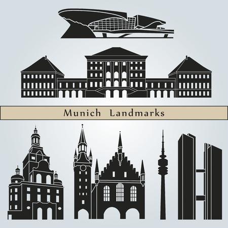 뮌헨: 뮌헨의 명소와 기념물은 파란색 배경에 고립