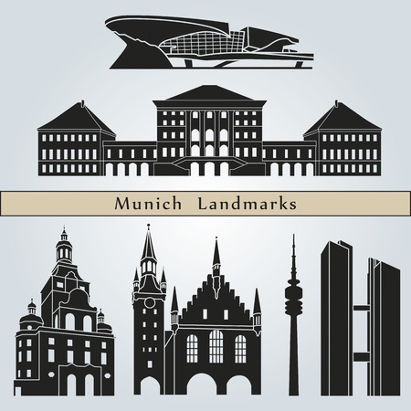 Munich landmarks and monuments isolated on blue background