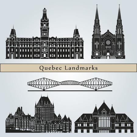 quebec city: Quebec landmarks and monuments isolated on blue background  Illustration