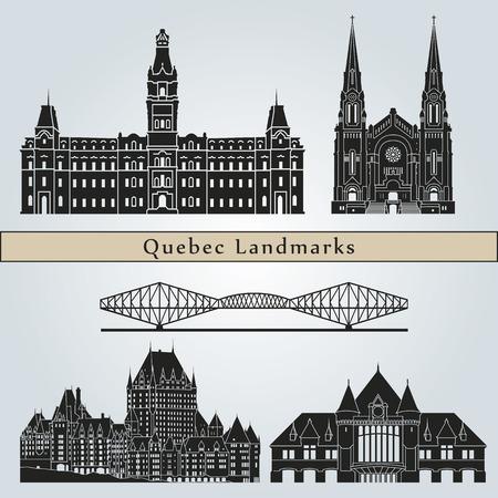 Quebec landmarks and monuments isolated on blue background  Illustration