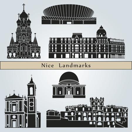 nice france: Nice landmarks and monuments isolated on blue background  Illustration