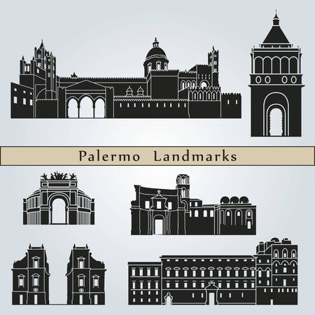 palermo italy: Palermo landmarks and monuments isolated on blue background