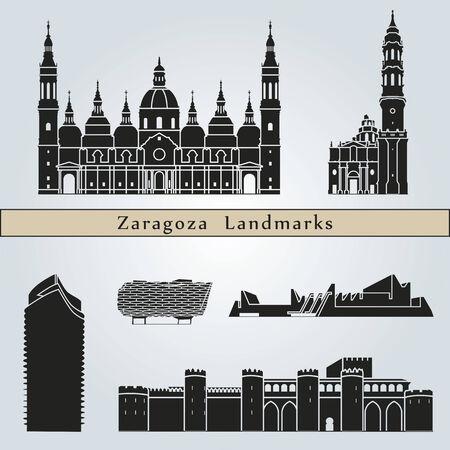 Zaragoza landmarks and monuments isolated on blue background  Illustration