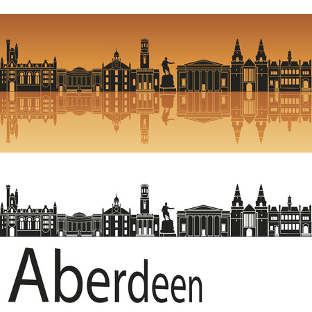aberdeen: Aberdeen skyline in orange background