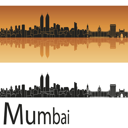 Mumbai skyline in orange background Vector