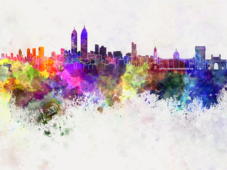 monuments: Mumbai skyline in watercolor background
