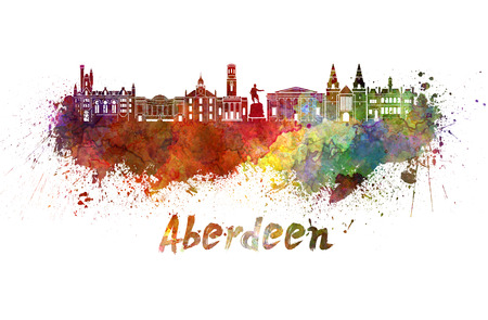 aberdeen: Aberdeen skyline in watercolor splatters with clipping path