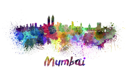 Mumbai skyline in watercolor splatters with clipping path Stock Photo