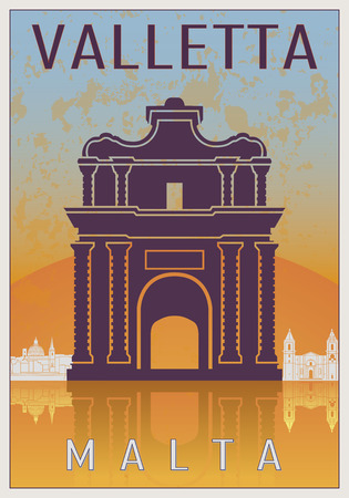 malta cities: Valletta Vintage poster in orange and blue textured background with skyiline in white