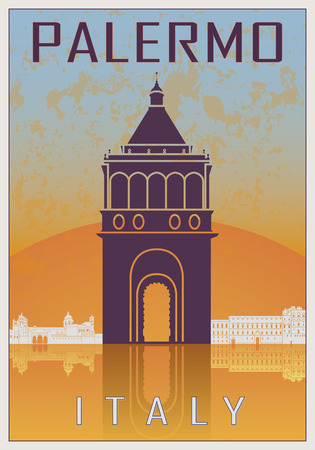 palermo italy: Palermo Vintage poster in orange and blue textured background with skyiline in white Illustration