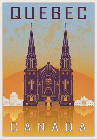 quebec city: Quebec Vintage poster in orange and blue textured background with skyiline in white