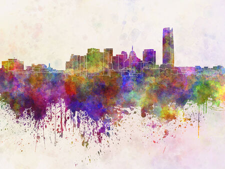 oklahoma: Oklahoma City skyline in watercolor background