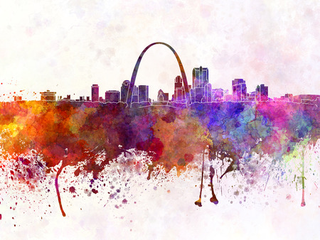 st louis: St Louis skyline in watercolor background