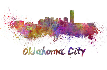 oklahoma: Oklahoma City skyline in watercolor splatters with clipping path Stock Photo