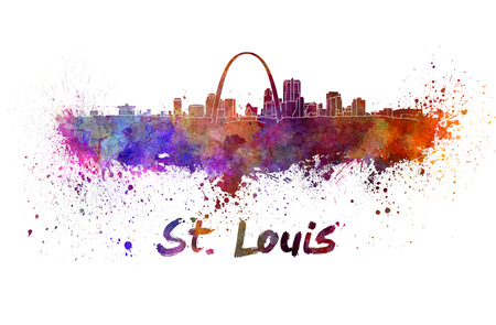 St Louis skyline in watercolor splatters with clipping path Stock Photo