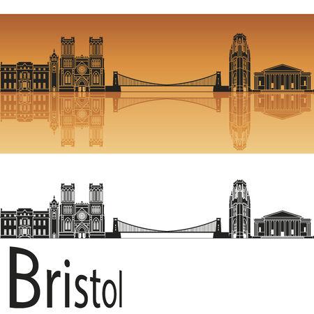 bristol: Bristol skyline in orange background in editable vector file Illustration