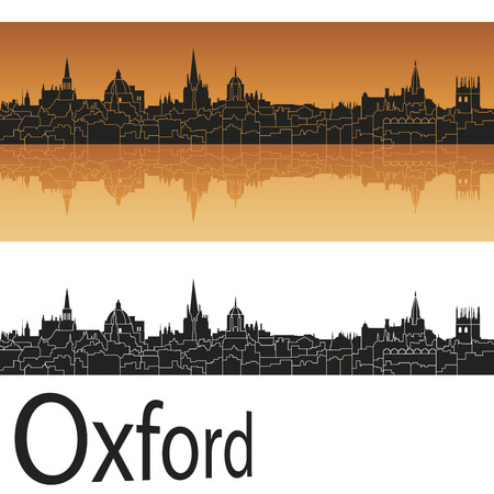 Oxford skyline in orange background in editable vector file Vector