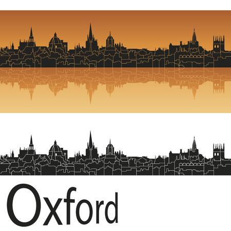 oxford: Oxford skyline in orange background in editable vector file