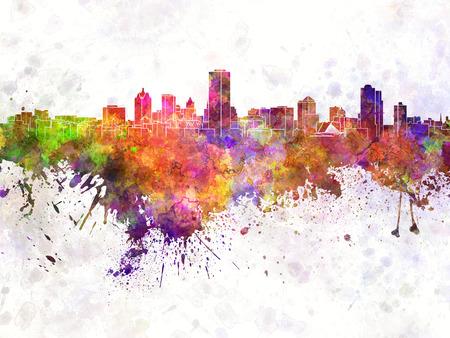 milwaukee: Milwaukee skyline in watercolor background Stock Photo
