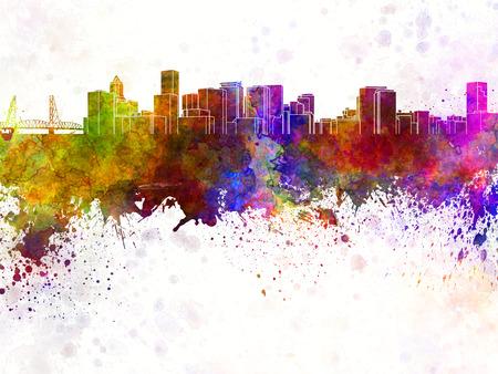 水彩画背景でポートランド スカイライン 写真素材