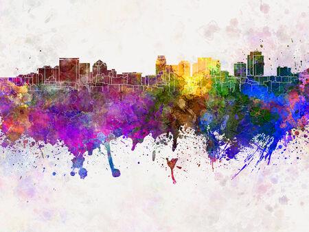 水彩画背景でソルト レイク シティ スカイライン