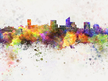 Wichita skyline in watercolor background Stock Photo
