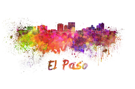 El Paso skyline in watercolor splatters with clipping path photo