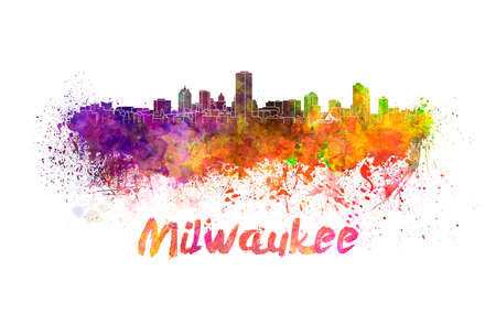 milwaukee: Milwaukee skyline in watercolor splatters with clipping path