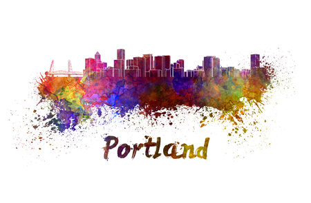 portland: Portland skyline in watercolor splatters with clipping path Stock Photo