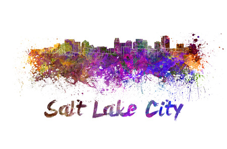 salt lake city: Salt Lake City skyline in watercolor splatters with clipping path
