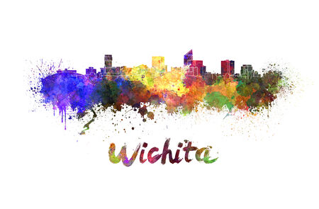 Wichita skyline in watercolor splatters with clipping path