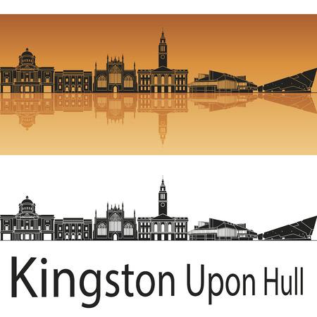 kingston: Kingston Upon Hull skyline in orange background Illustration