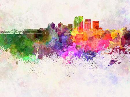 louisville: Louisville skyline in watercolor background