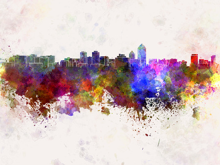 albuquerque: Albuquerque skyline in watercolor background Stock Photo