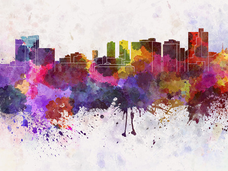 fort worth: Fort Worth skyline in watercolor background