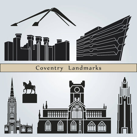 Coventry landmarks and monuments isolated on blue background in editable vector file