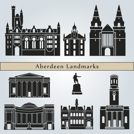 aberdeen: Aberdeen landmarks and monuments isolated on blue background in editable vector file