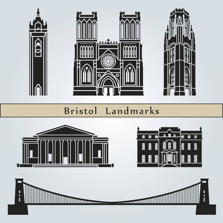 bristol: Bristol landmarks and monuments isolated on blue background in editable vector file Illustration